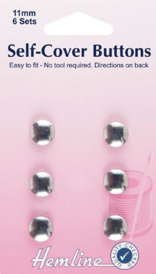H473.11 Self Cover Buttons: Metal Top - 11mm